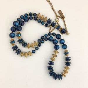 Vintage Long Blue and Gold Necklace
